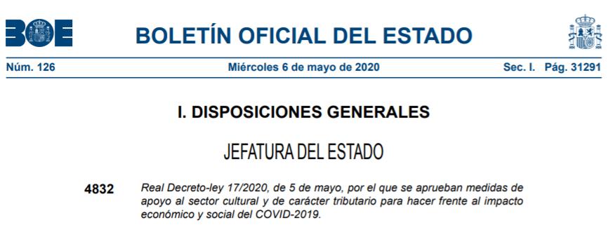RDL 17/2020 de 5 de mayo. Reactivación de la Contratación Pública.