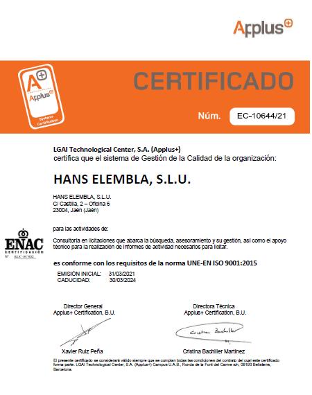 HANS SOLUCIONES EMPRESARIALES CONSIGUE SU CERTIFICADO DE CALIDAD ISO 9001